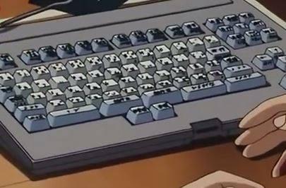 映画の中の親指シフトキーボード